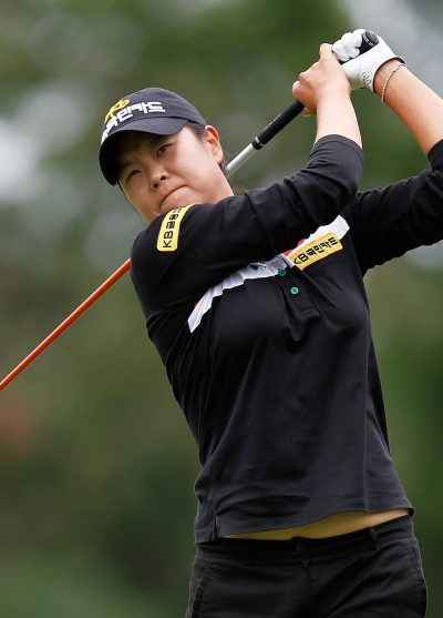 SYLVANIA, OH - AUGUST 10: Hee-Won Han of South Korea watches her drive on the 15th hole during the second round of the the Jamie Farr Toledo Classic presented by Kroger, Owens Corning and O-I at Highland Meadows Golf Club on August 10, 2012 in Sylvania, Ohio.  (Photo by Gregory Shamus/Getty Images)